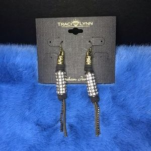 Traci Lynn Black and Gold Leather Tassel Earrings
